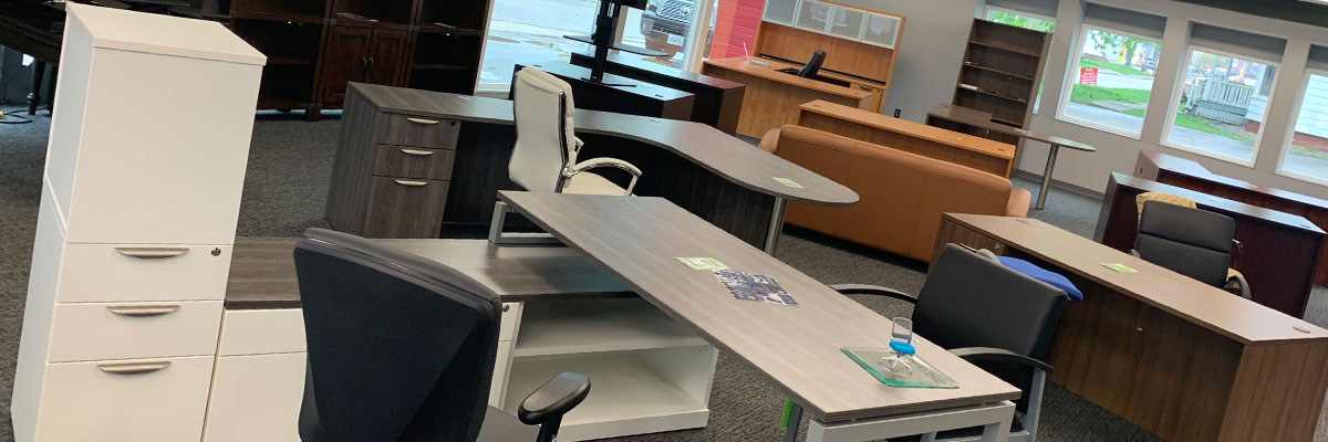 A wide selection of office furniture desks and bookshelves